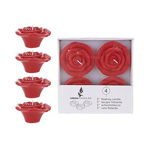 Mega Candles Unscented 3' Floating Rose Flower Candles - Red, Set of 4