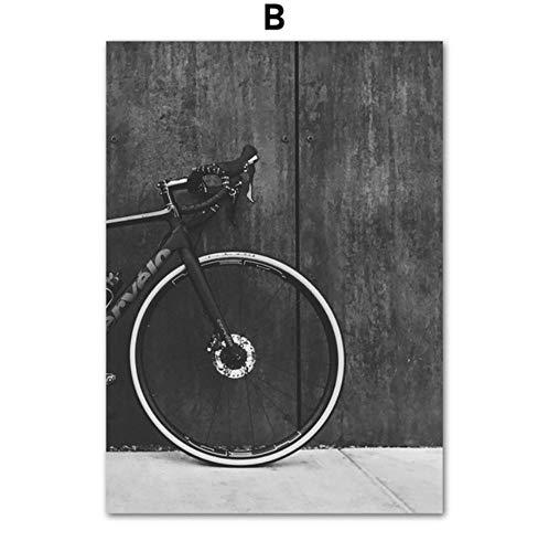 waitingposter poster fiets mountainbike landschap muurkunst canvas schilderij Nordic poster en print muurschildering voor woonkamer slaapkamer 20x28inch(50x70cm) B