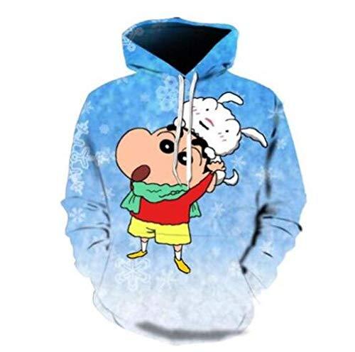 Crayon Shin Chan Cartoon Teen Hoodie Loose Fashion Kapuzenpullover mit langen Ärmeln, große Größe für Herren, blau Large