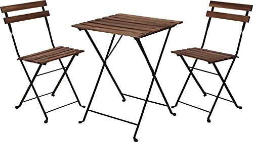 idooka Bistro Garden Table and Chairs - Metal Black Frame Acacia Wood Garden Furniture Sets Outdoor Seating- Folding Table & 2 x Foldable Chair Set- 3 Piece Patio Set Square Metal- Balcony Furniture