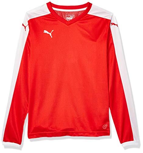 Puma Men's Pitch Long Sleeve Shirt, Puma Red/White, Youth X-Large