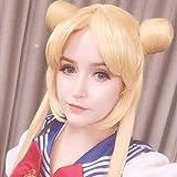 Peluca mujer Sailor Moon doble cola de caballo larga recta rubia amarillo limón peluca cosplay sintética para fiesta de disfraces de Halloween