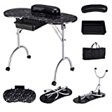 Giantex Nail Table Station Portable Manicure Tech Desk with Free Bag Case Sliding Drawer Leather Hand Pillow Spa Beauty Salon Technician Equipment Nails Art Table Set w/Lockable Wheels