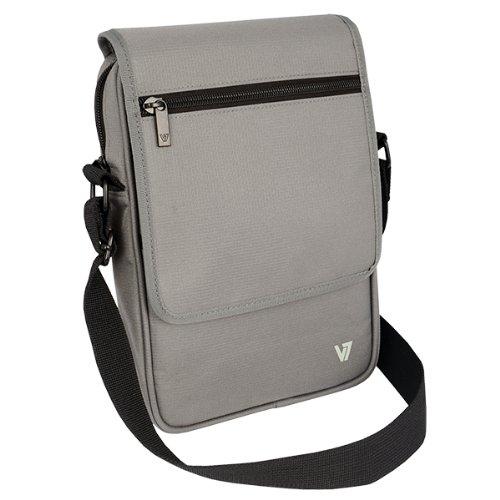 V7 TDM21GRY-1E Premium Messenger Bag für Tablet PCs bis 8.1 Zoll und iPad mini grau
