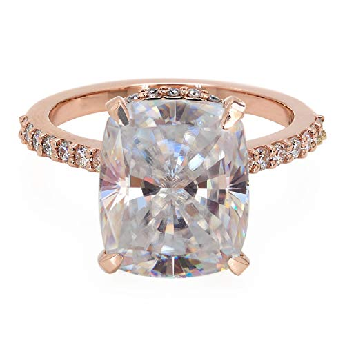 Diamondrensu Anillo de compromiso de diamantes Moissanita de 5,31 quilates, cojín alargado y colorido, anillo de compromiso con halo de diamantes