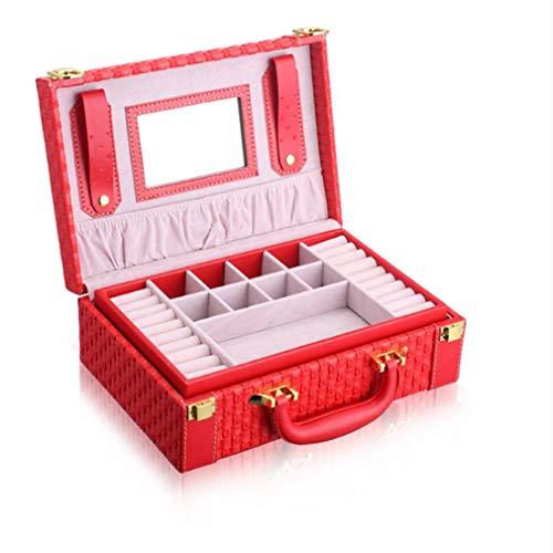 MyWheelieBin Joyero Tejido con Patrón Caja De Almacenamiento Portátil Multifuncional para Joyas 27 * 18.5 * 9.5cm Rojo