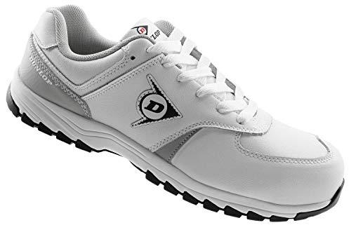 Dunlop Zapatillas S3 Hombre Mujer - Zapatos de Trabajo - Color Blanco - Cuero - Calzado Confeccionado para el Sector Alimentación - Hostelería - Camareros - Cocineros - Cafeterías