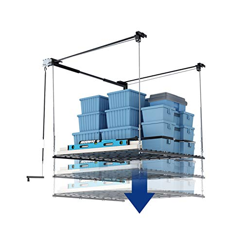 FLEXIMOUNTS Overhead Garage Storage Rack Lift Ceiling Storage Lift System Heavy Duty 4 x 4 FT Black
