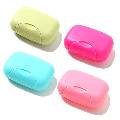 RETON 4 Stück Tragbare Candy Farbe Seife Container Fall Box Halter Veranstalter für Haus, Bad, Wandern, Reisen, Camping und andere Outdoor-Aktivitäte (4 Groß)