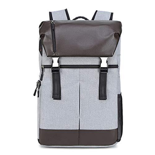 Vfhdd Nueva cámara de cuero bolsa fotografía SLR mochila de gran capacidad (gris claro)