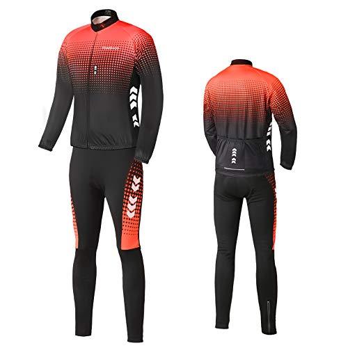 TOMSHOO Tuta da Ciclismo da Uomo Inverno + Pantaloni di Cotone in Silicone 4D Caldo Pile Manica Lunga Mountain Bike Camicia da Bici da Strada Pantaloni Spessi