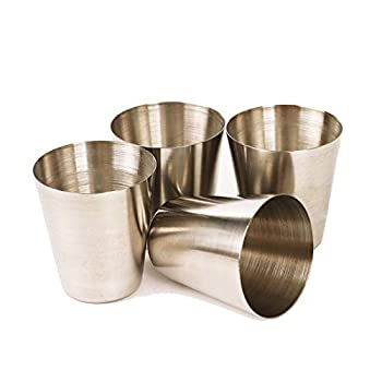 Stainless Steel Shot Cups - Metal Shot Glasses Drinking Tumbler for Cocktail Beer Whiskey Water  Silver 1 oz