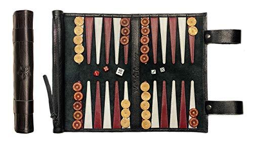 Melia Games Backgammon zum Rollen - Reise-Backgammon aus feinstem Nubuk Echt-Leder mit handgefertigten Holzspielsteinen - Farbe: Black (Schwarz)