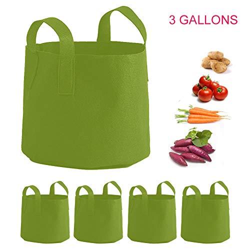 5 Pack Pflanzsack Grow Bag Umweltfreundlicher Stoff Pflanzsack mit Verdickten Griffen Filztopf perfekt für Bio Gemüse Blumen und Pflanzen Eignet 3/5/7/10 Gallonen,3 gallons 2