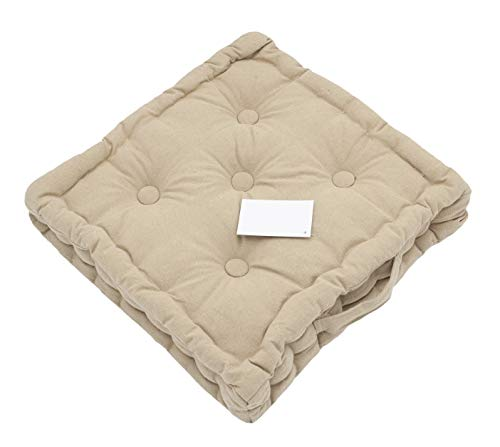 LEYENDAS Cojin para Silla de 40 x 40 x 8 cm, para Interior y Exterior de 100% algodón cojín Acolchado/cojín para el Suelo (Beige, 1)