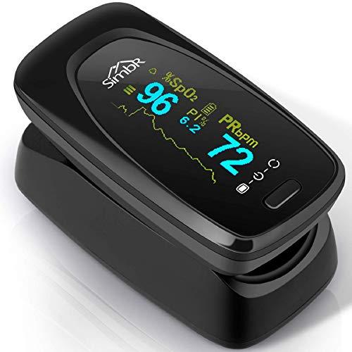 SIMBR Oxímetro de Dedo con Pantalla LCD Pulsioxímetro de Pulso para Medición de SpO2 con Alarma y 4 Direcciones Giratorias para Adultos y Niños