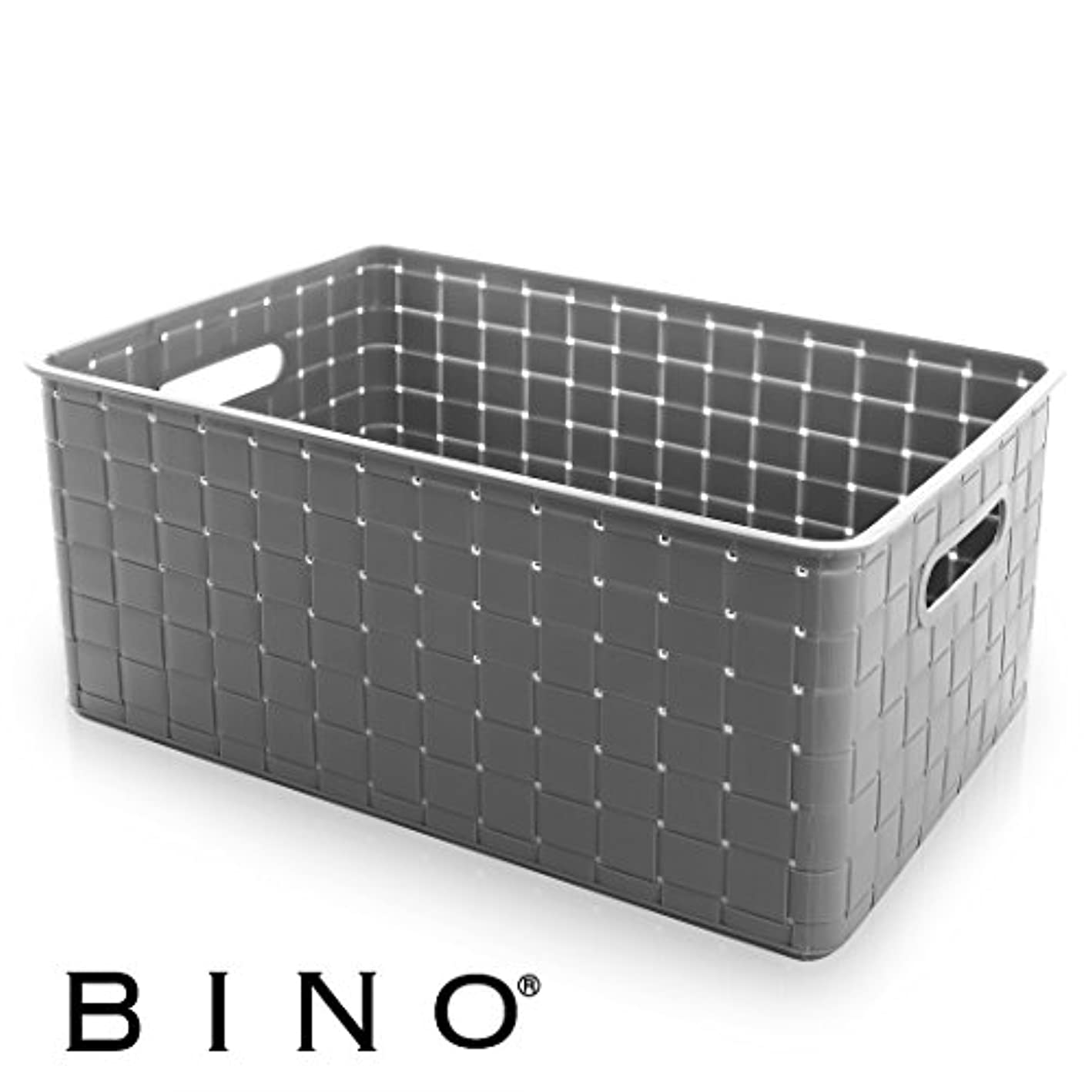 BINO Woven Plastic Storage Basket, Large (Grey)
