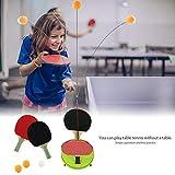 Roebii Entraîneur de Tennis de Table,Jouet pour Enfants Set de Tennis de Table Trainer avec avec Tige élastique Souple 2 Raquette de Ping Pong 3 Balle 4 Ventouse,pour Débutants et Joueurs Avancés