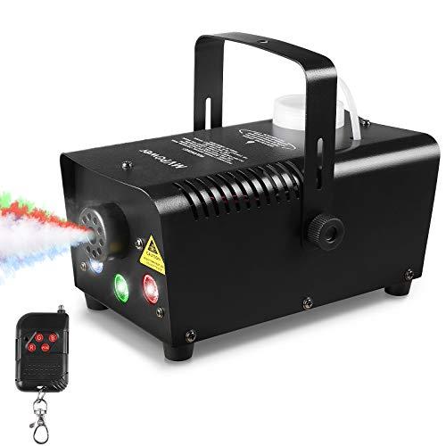 MVPOWER mini nebelmaschinen 500W, nebel maschinen mit kabellose Fernbedienung und 7 farbige LED-Leuchten,für Halloween, Festival, Hochzeiten Party