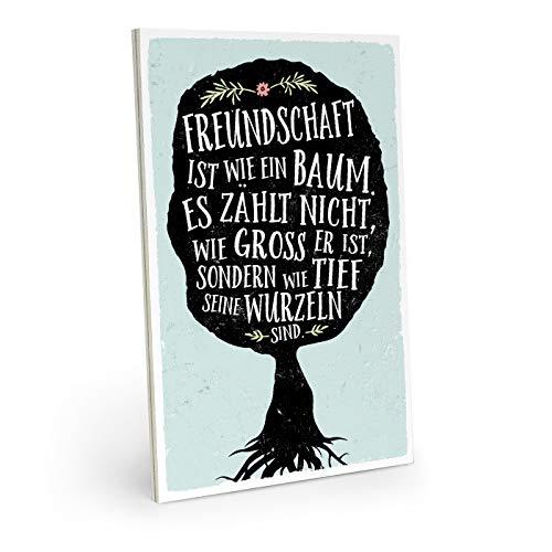 ARTFAVES Holzschild mit Spruch - Freundschaft IST WIE EIN Baum - Vintage Shabby Deko-Wandbild/Türschild