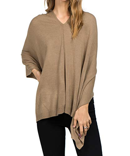 Scarfand Versatile V-Neck Boat Neck Knitted Poncho Sweater Solid Colors (Camel)