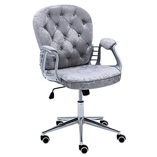Warmiehomy Hochwertiger Computerstuhl aus Samt mit mittlerer Rückenlehne – Bürostuhl, verstellbarer Drehgelenk, Chefsessel, extra gepolstert Grauer Samt