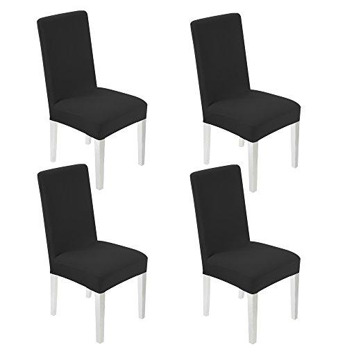 WANYI 4 Stück Stuhlhussen Stretch Stuhlbezug Elastisch Stuhlüberzug Moderne Husse Elasthan Stretchhusse Stretch-Stuhlbezug sehr pflegeleicht und langlebig Universal (Schwarz)