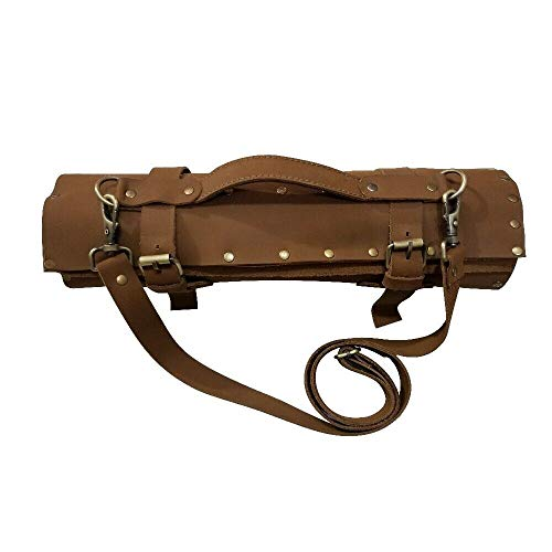 Travel-Friendly Chef Knife Wrap Bag | Genuine Leather Knife Roll | Storage Bag Handles Carry Case Kitchen | travel bag knives holder | KB011