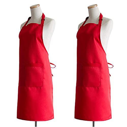 Barbecue Masterchef Grembiule Per Uomo Cinturino Regolabile Impermeabile Cucina Da Cucina Grembiule Con 2 Tasche Rosse 2pcs