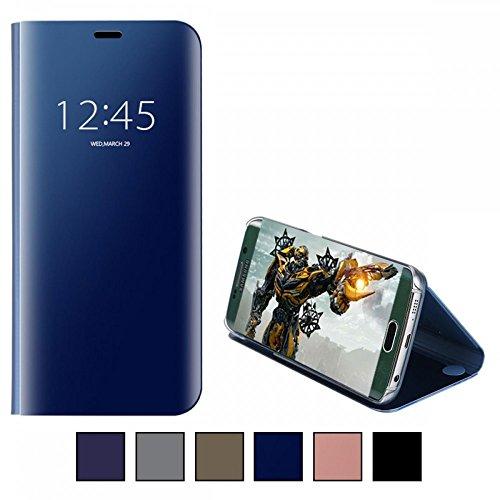 COOVY® Cover für Samsung Galaxy S6 SM-G920F SM-G920 Bookstyle, metallic Optik, Clear View, luxuriöses, durchsichtiges Spiegel Fenster Case, Standfunktion | Farbe blau