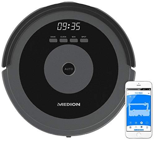 MEDION MD 17225 Saugroboter (Raumerkennung durch Laser/WLAN/Direktabsaugung von Hartböden, Teppiche, Fliesen, Laminat/Tierhaare optimiert/Timer-Funktion/Digitale Karte) grau