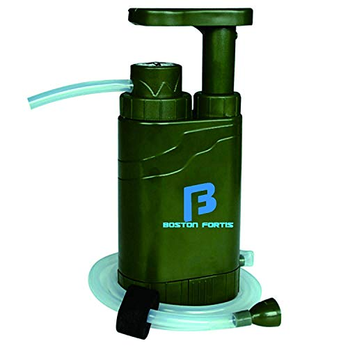 Boston Fortis Personal Portable Water Filter, 4-Stage Purifier, Emergency Survival Gear, Outdoor, Hiking, Camping, Travel, Backpacking, Military, 0.1 Micron, with 5 Integrated Features