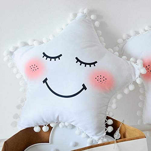 CBSTD new moon cloud star plush toy stuffed soft plush pillow room decoration cute sofa cushion Chair Back Sofa Pillow Soft Home Decoration Gift Animal Doll Fashion Toy for Kids (white star)
