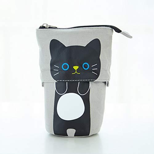 Guillala Transformer Stand Store - Soporte para lápices creativo y lindo gato de dibujos animados de lona organizador para niños y niñas, suministros escolares para bolígrafos y regalos