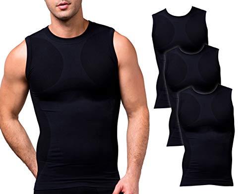 Sodacoda Herren Base-Layer Muskel Shirt - Gym Freizeit Tank Top Ärmellos (3X Schwarz L)