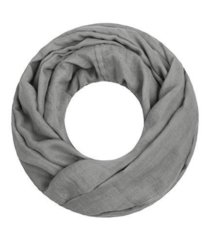 Majea Loop Cary Basic Schal Tuch Damen-schal Schlauchschal Rundschal Halstücher uni unifarben Loopschal einfarbig (grau 1)