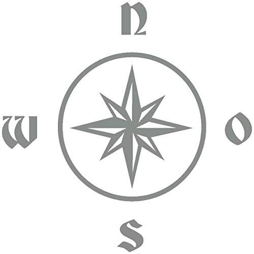 Samunshi® Kompassrose Wandtattoo in 8 Größen und 19 Farben (40x40cm mittelgrau)