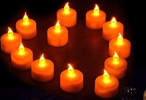 12 Velas De LED Com Bateria -Cor Branca - Luz do LED Amarela