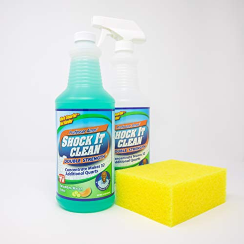 Professor Amos' Shock It Clean Cucumber Melon Make 32 Bottles Of All Purpose Concentrate Cleaner, Laundry Booster, Stain Remover, Carpet Cleaner, Kitchen & Bathroom Cleaner, Indoor and Outdoor KIT