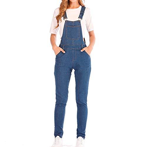 STRIR Mujer Mono Vaquero con Bolsillo Casual Jeans Pantalones de Peto Demin Largo 2019 Nuevo (L, Azul)