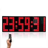 時計目覚まし時計クリエイティブウォッチ多機能リモコンデジタルライトライト壁モデル壁時計,赤
