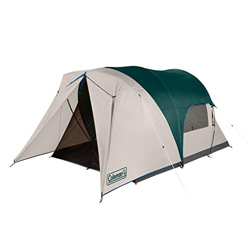 Coleman Cabin Camping Tent with Weatherproof Screen Room | 4 Person Cabin Tent with Enclosed Screened Porch, Evergreen