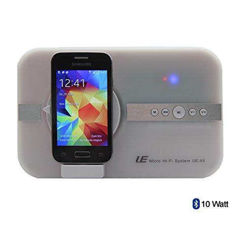 Altavoz de 10 vatios para Samsung S4 S5 S3 S2 Alpha K zoom POCKET 2 Trend Lite Young 2 Tab 3 SIII mini Note 4...* Soporte para música, vídeo, YouTube, Skype, imágenes y llamadas telefónicas con interfaz micro USB y Bluetooth más mando a distancia enchufe británico de 3 pines, color blanco