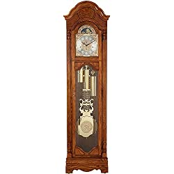 Howard Miller Bronson Floor Clock 611-019 – Illuminated Golden Oak Grandfather Timepiece Home Decor with Cable-Driven Single-Chime Movement