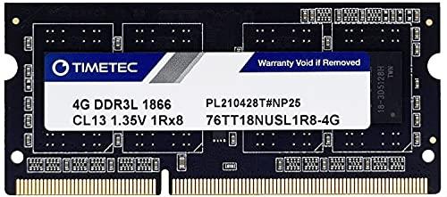 Timetec Memoria RAM DDR3-1866L de 4 GB de repuesto para Synology D3NS1866L-4G, sin ECC, sin búfer, SODIMM, DDR3L 1866Mhz PC3L-14900,...