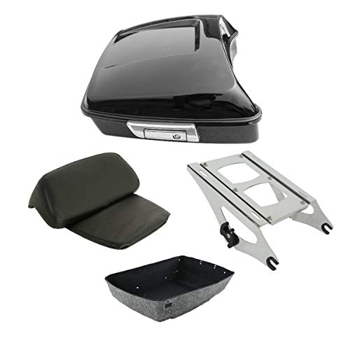 TCT-MT Chopped Tour Pak Trunk w/Backrest & Mount Rack For Harley Touring 2014-2020 Road King FLHR,Street Glide FLHX, CVO Limited FLHTKSE, Tri Glide Ultra FLHTCUTG, Ultra Limited FLHTK 19 18 17 16 15