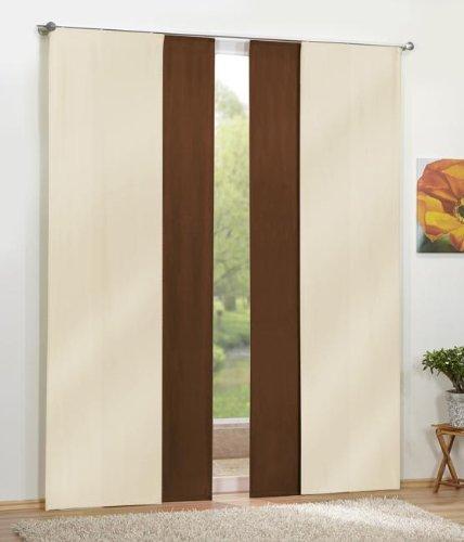 Gardinen Set, 2 x Flächenvorhang Schiebegardine Blickdicht, Creme, 2 x Flächenvorhang Schiebegardine Blickdicht, Braun, 8559085590