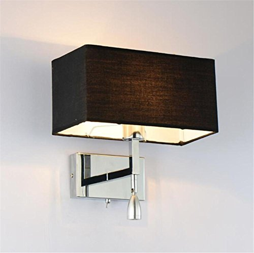 Wall Lights Modern Reading LED Polished Chrome Wall Lamp Adjustable Metal Swing Arm And Fabric Lamp Shades With Sectional Switch Living Room Bedroom Bedside Hotel Wall Surface Mounted Sconces