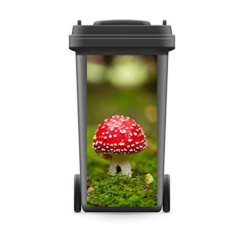 WERBEPUNKT. Mülltonnenaufkleber Mülltonne Mülleimer Abfalltonne Sticker Pilz Natur Wald - 720 x 320 mm