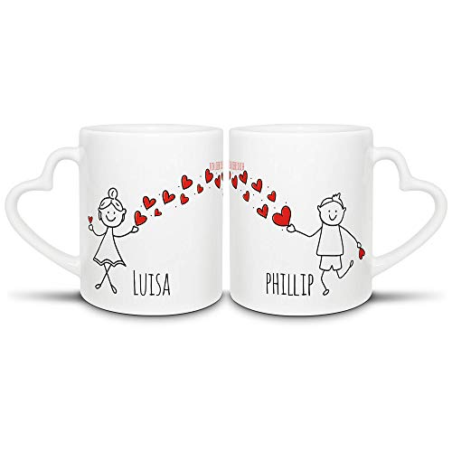 Tassendruck Partner-Tassen mit süßen Strichmännchen - für Frau und Mann - zum selbst Beschriften mit Wunschnamen - 2er Set Kaffeebecher aus Keramik mit Herzhenkel in Weiß, je 300 ml
